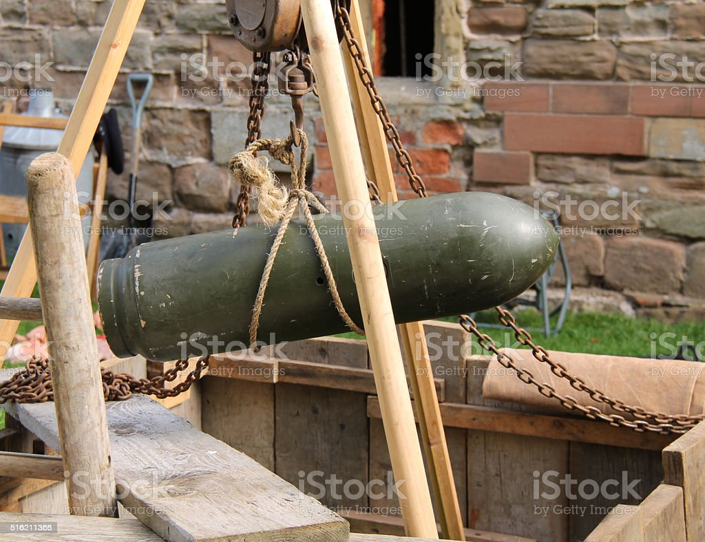 Unexploded Wartime Bomb. stock photo
