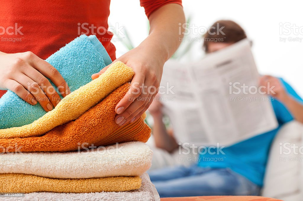 Unfair distribution of household duties stock photo