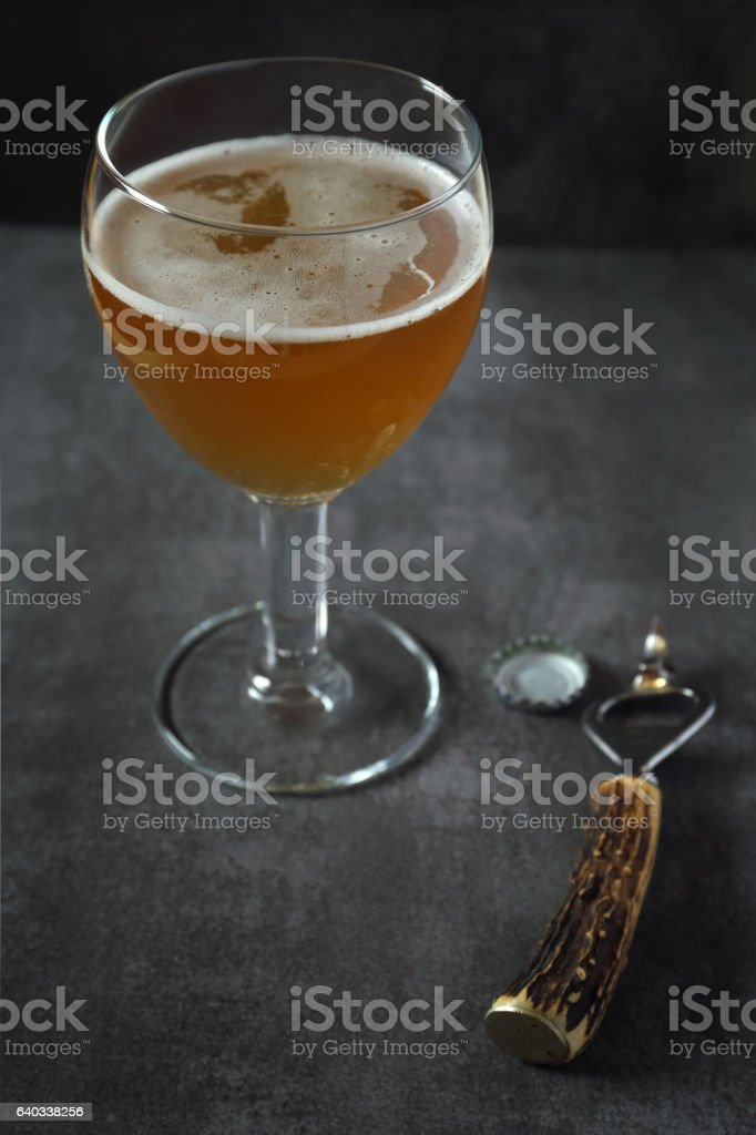Unfiltered beer glasse stock photo