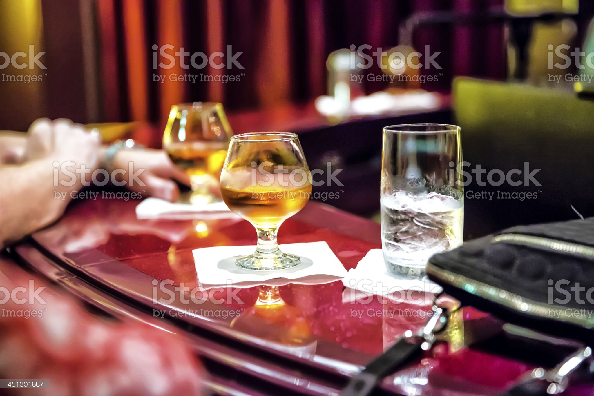 Unfinished alcoholic drinks on a bar countertop New year's Eve royalty-free stock photo