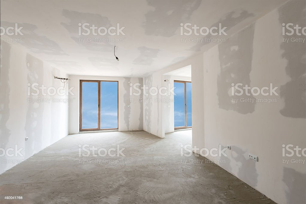 Unfinished building interior, white room (includes clipping path) stock photo