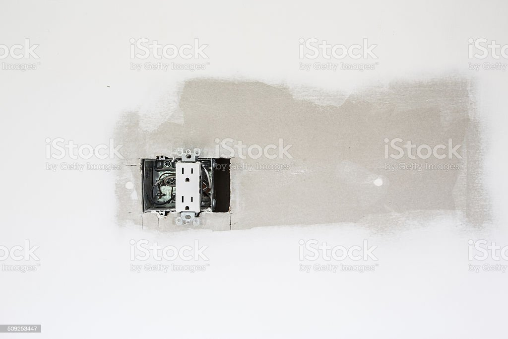 Unfinished drywall and plug stock photo