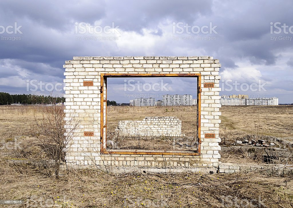 Unfinished garage gate stock photo