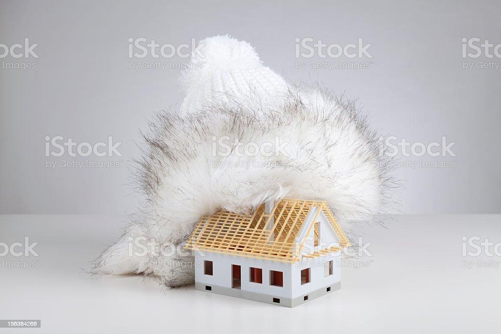 Unfinished house insulation royalty-free stock photo