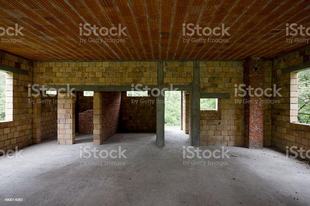 Unfinished house interior stock photo