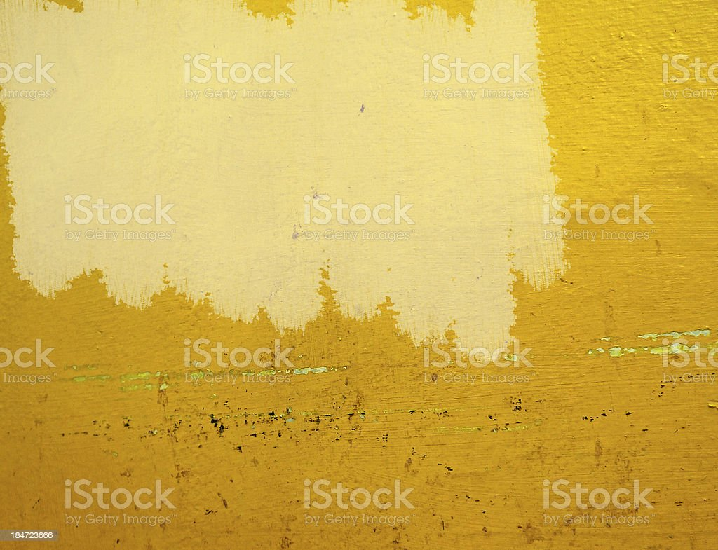 unfinished painting yellow wall royalty-free stock photo