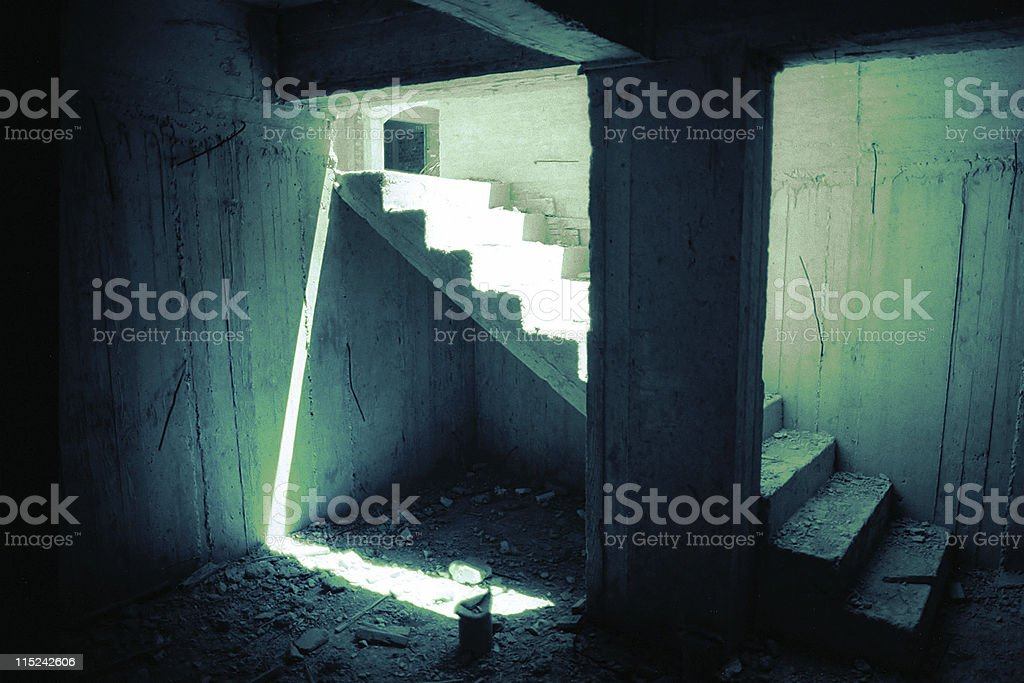 unfinished steps in concrete building stock photo