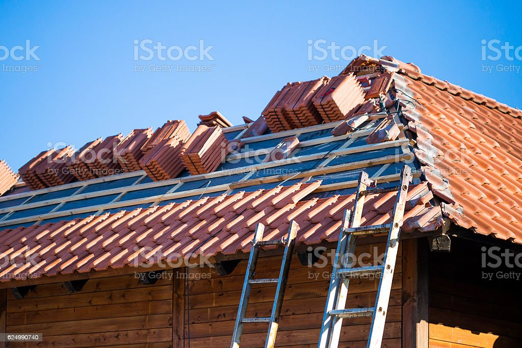 Unfinished tiled roof stock photo