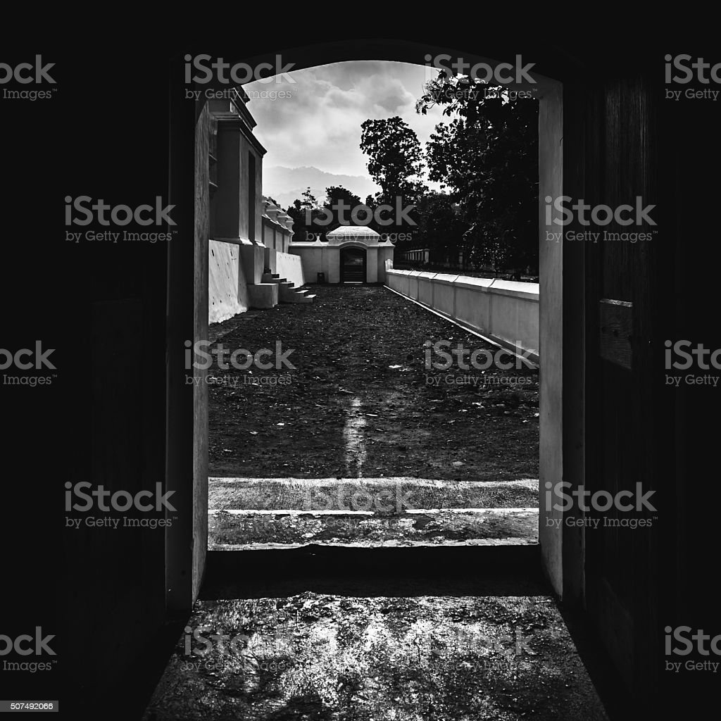 Unfinished walkway through the door royalty-free stock photo