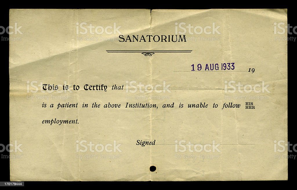 'Unfit for work' sanatorium certificate, 1933 royalty-free stock photo