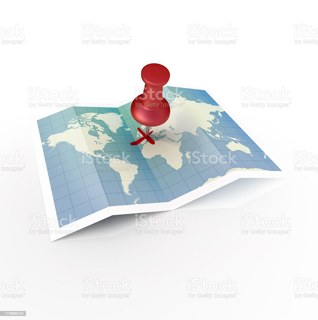 Unfolded world map with red pin in a cross on Europe stock photo