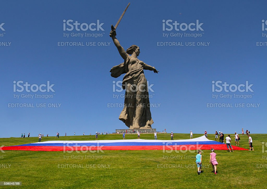 Unfolding of a large flag of Russia the Day of Russia stock photo