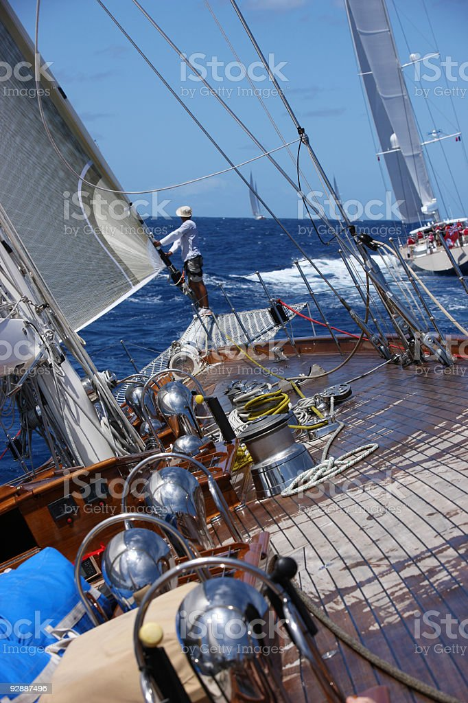 Unforgettible experience of sailing stock photo