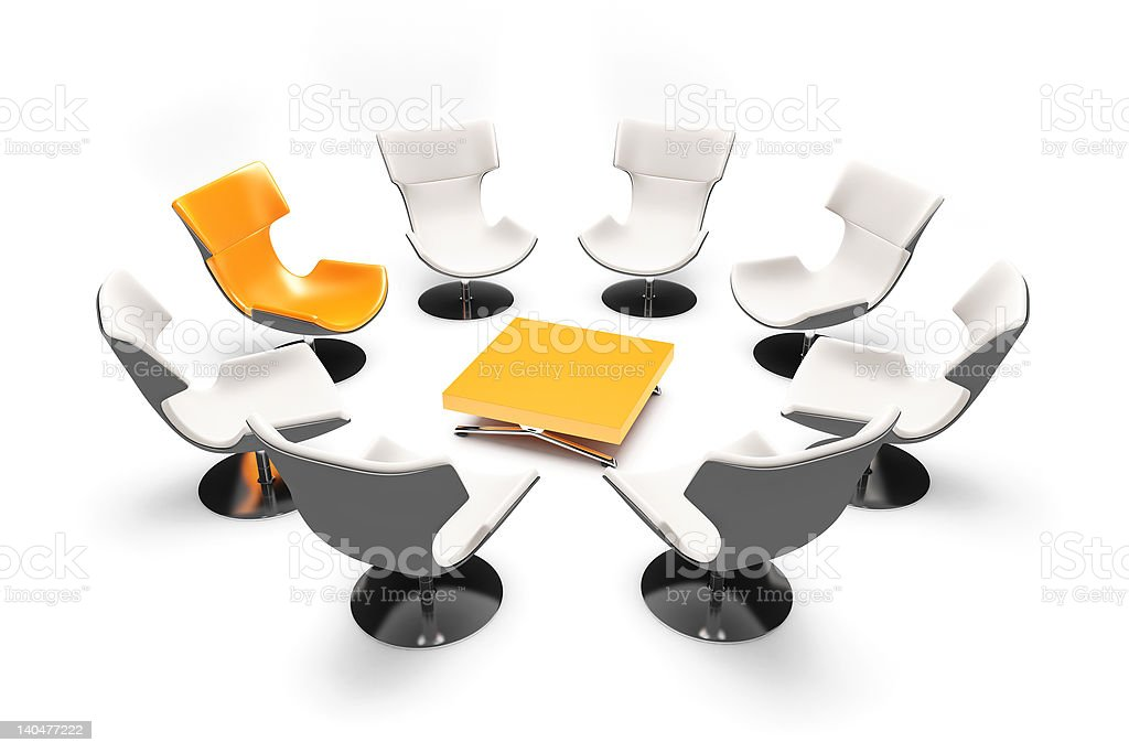 unformal meeting with orange chairs stock photo