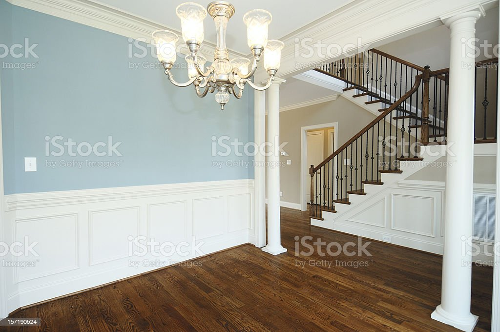 Unfurnished home with blue walls royalty-free stock photo