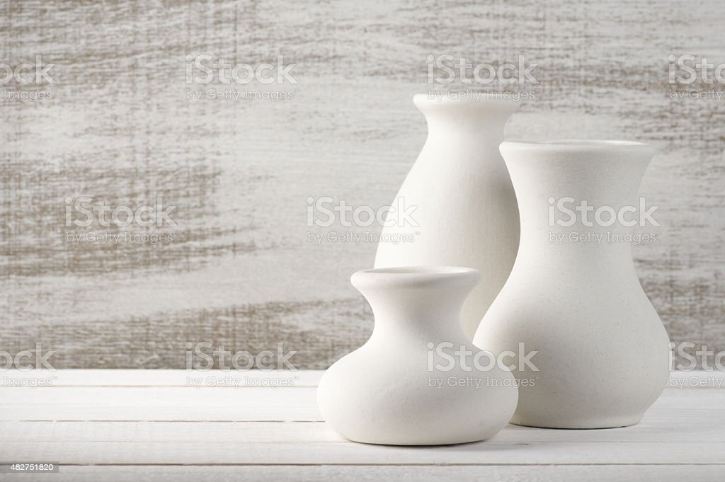 Unglazed ceramic vases stock photo