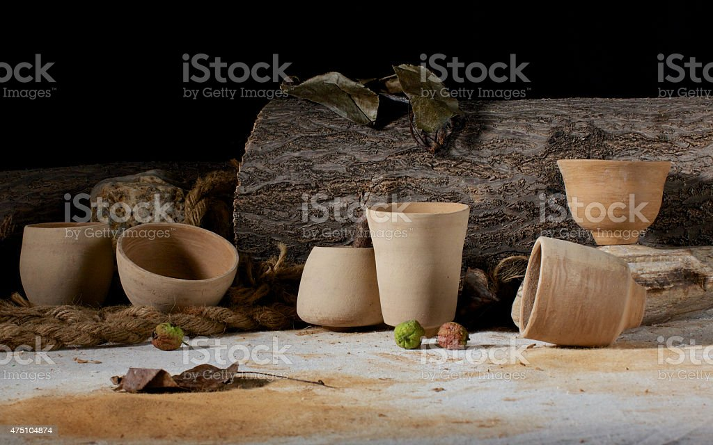 Unglazed clay pots stock photo