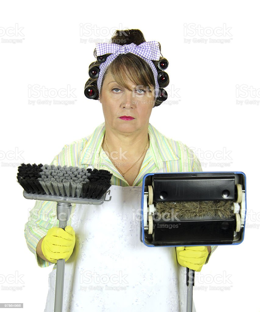 Unhappiest Housewife In The World stock photo