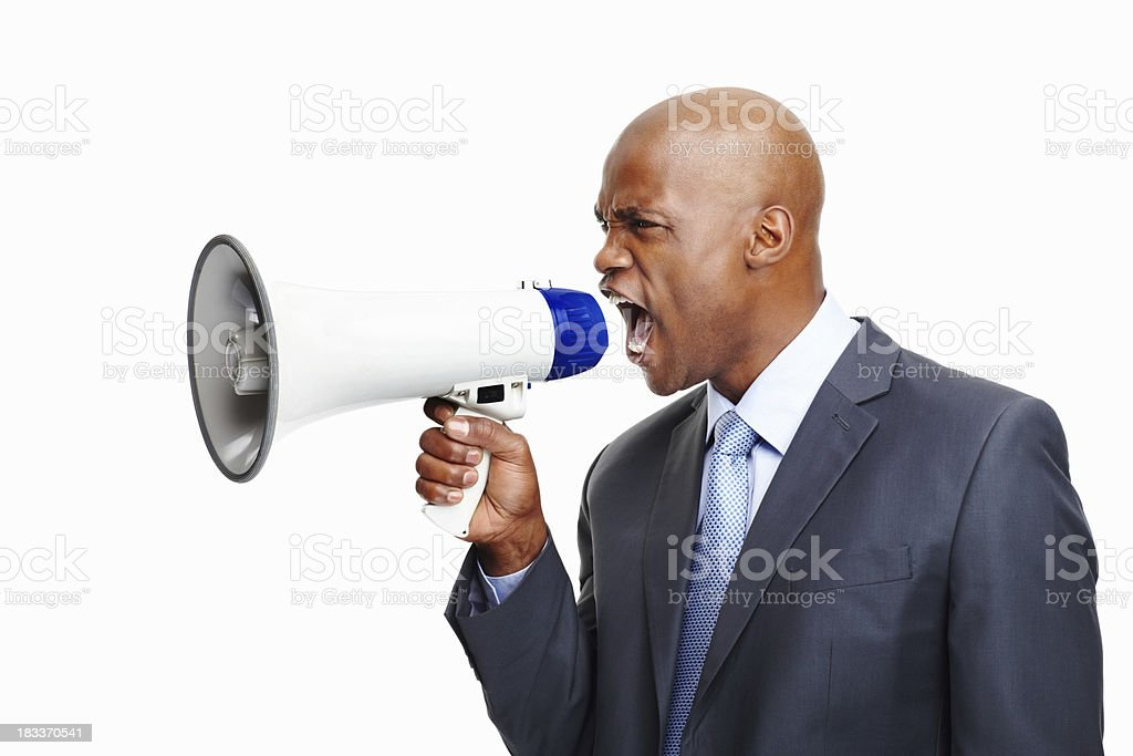 Unhappy executive needs to be heard royalty-free stock photo