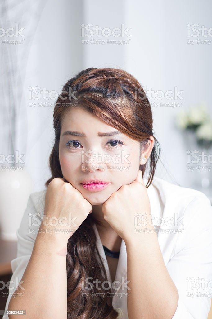 Unhappy face stock photo