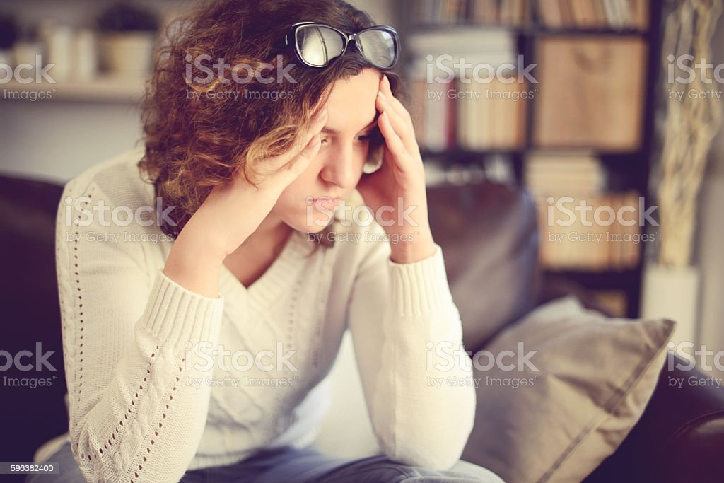 Unhappy girl stock photo