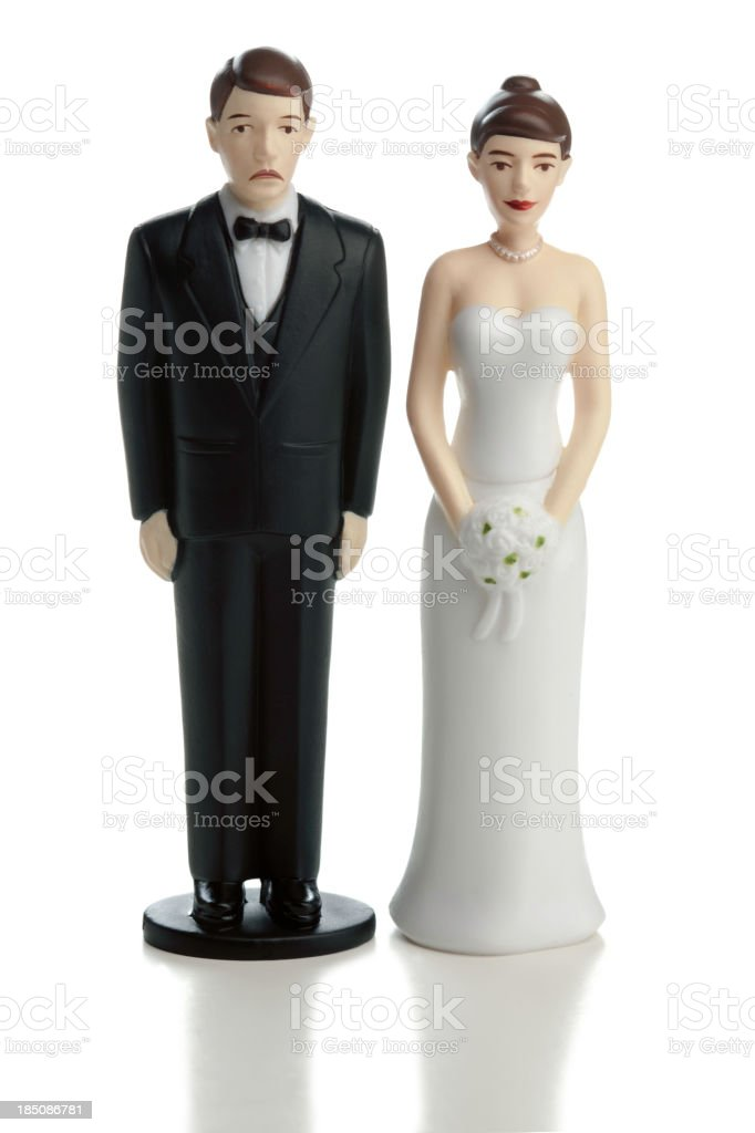 Unhappy Groom Wedding Couple on White stock photo