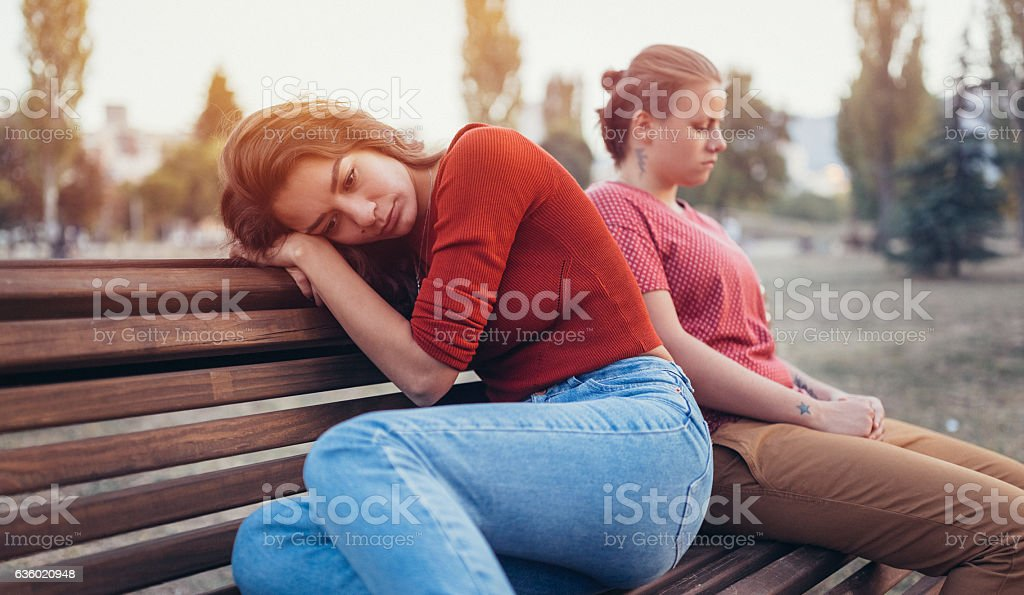 Unhappy homosexual couple in the park stock photo