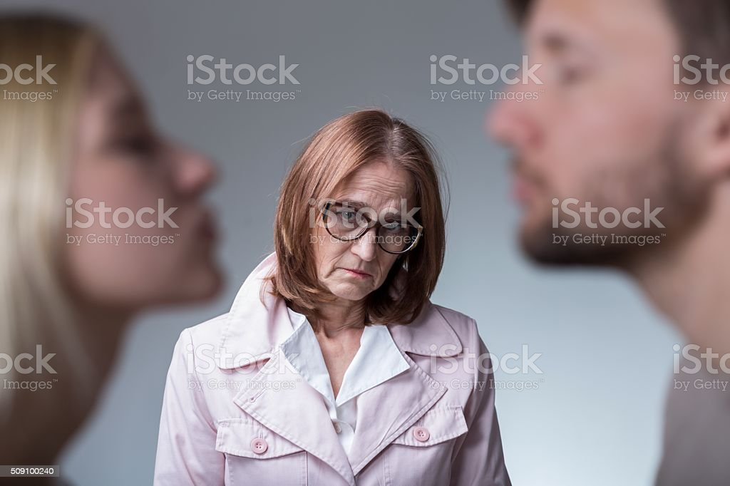 Unhappy mother-in-law stock photo