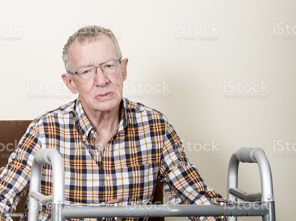 Unhappy older man stock photo