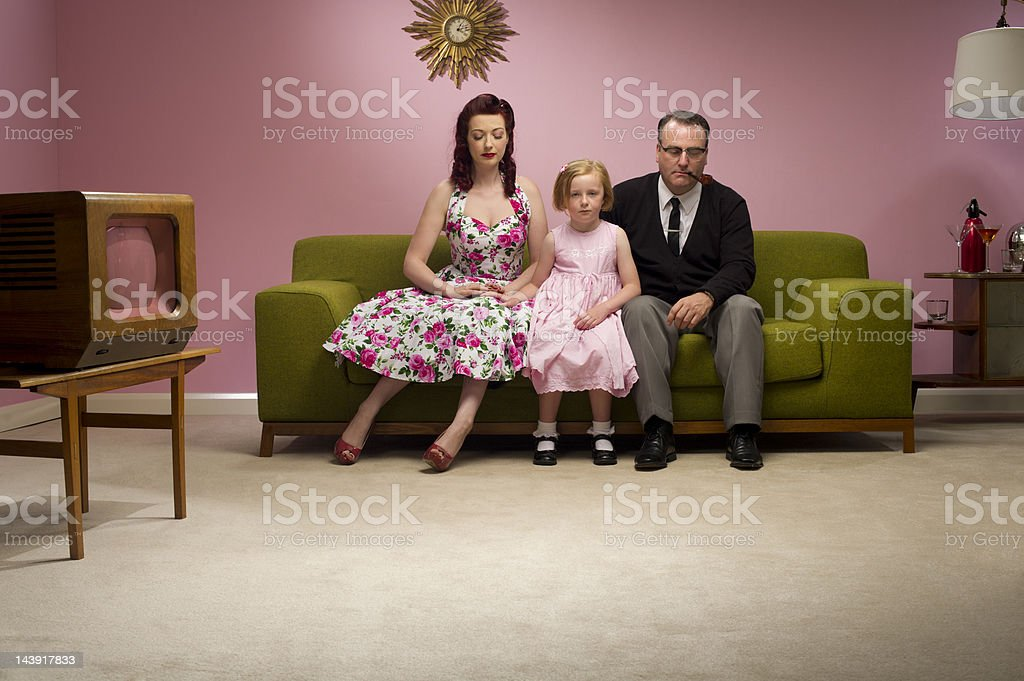 unhappy retro family stock photo