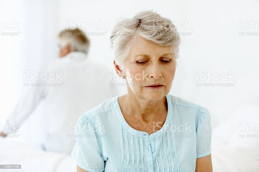 Unhappy senior woman royalty-free stock photo