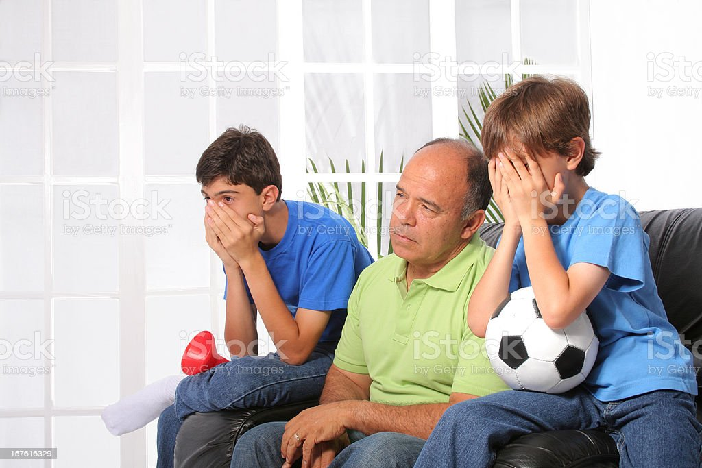 Unhappy Soccer Fans royalty-free stock photo