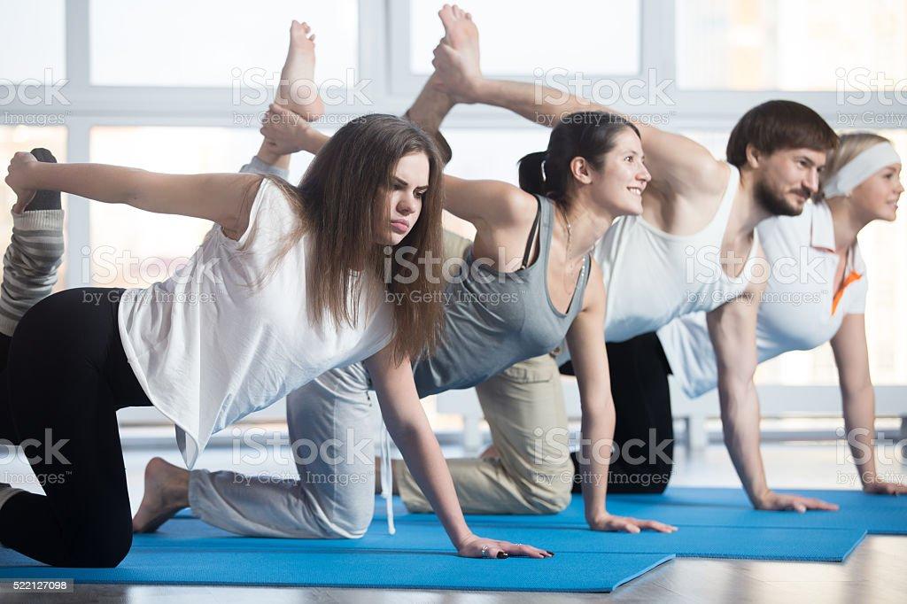 Unhappy woman exercising stock photo