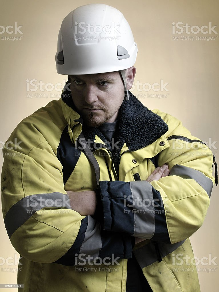 Unhappy/serious worker stock photo