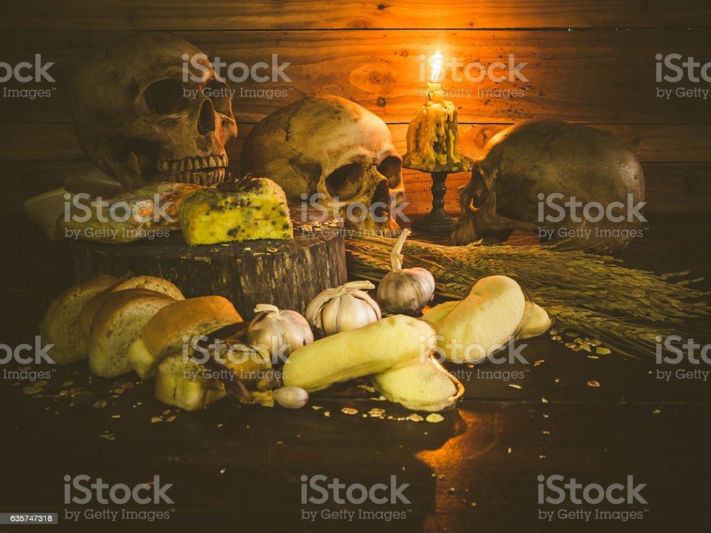 Unhealthy banana cakes and garlic bread stock photo