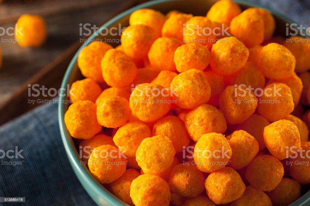 Unhealthy Cheesy Cheese Puffs stock photo