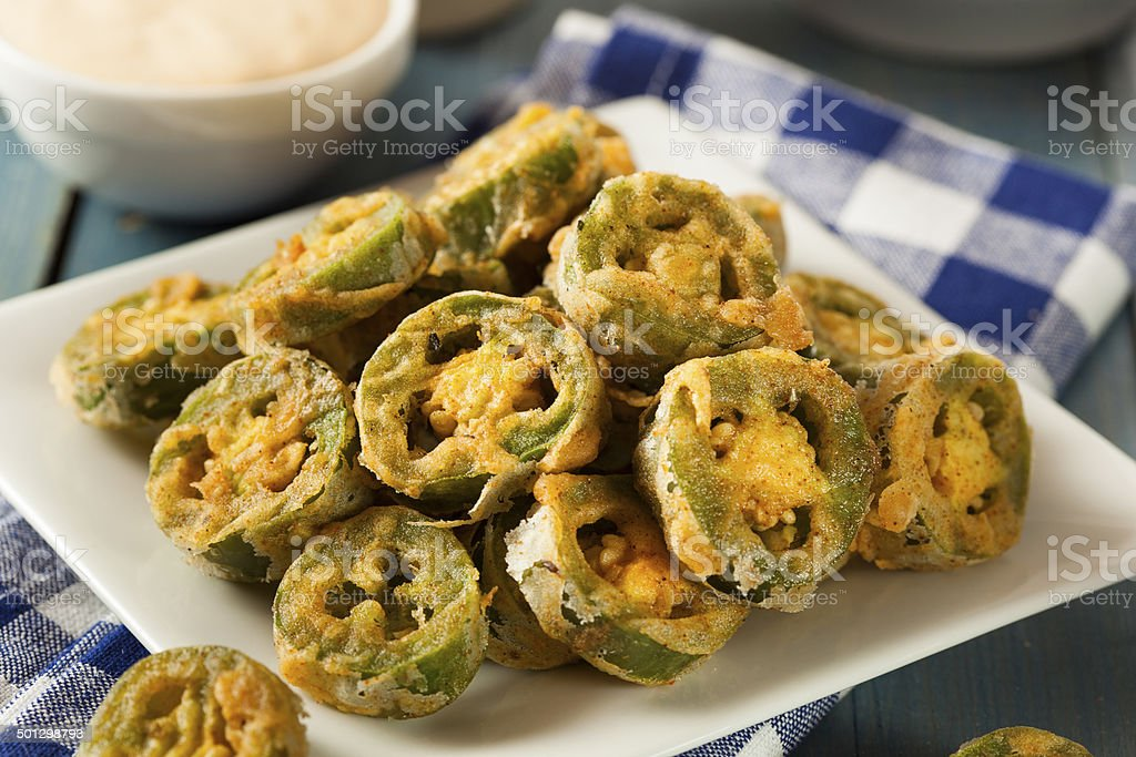 Unhealthy Fried Jalapeno Slices stock photo
