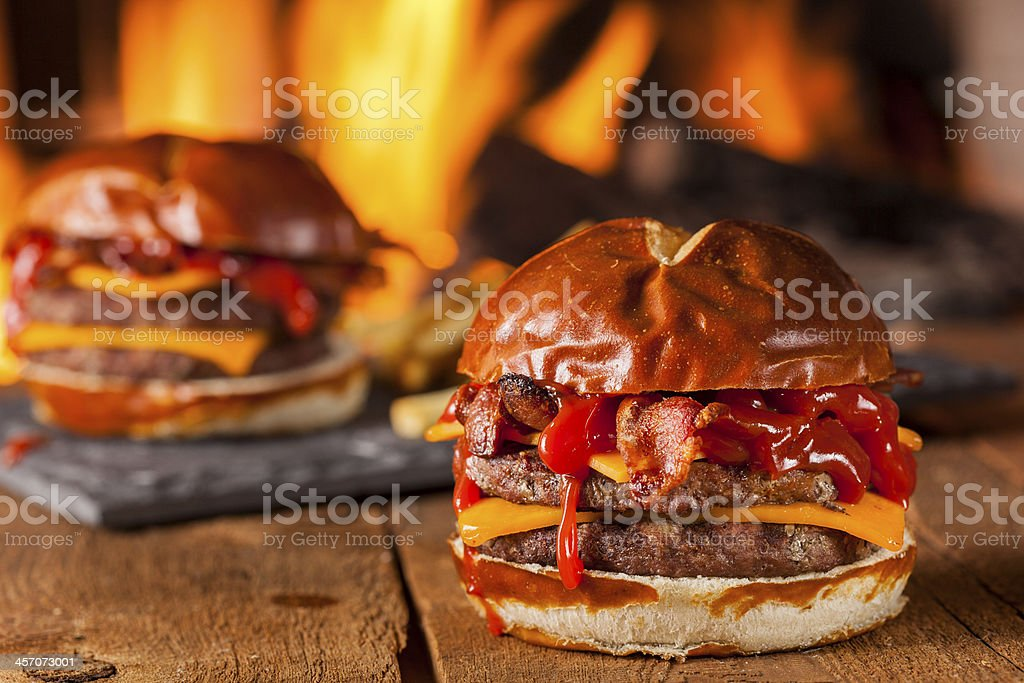 Unhealthy Homemade Barbecue Bacon Cheeseburger stock photo