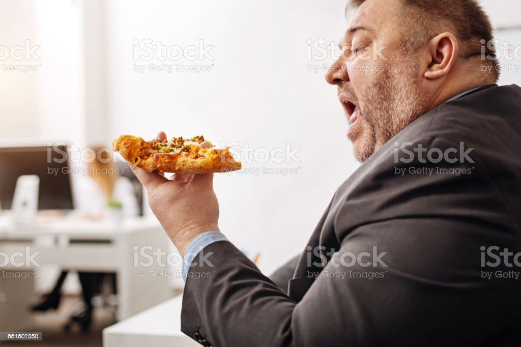 Not good for you. Hungry chubby average employee ordering pizza when...