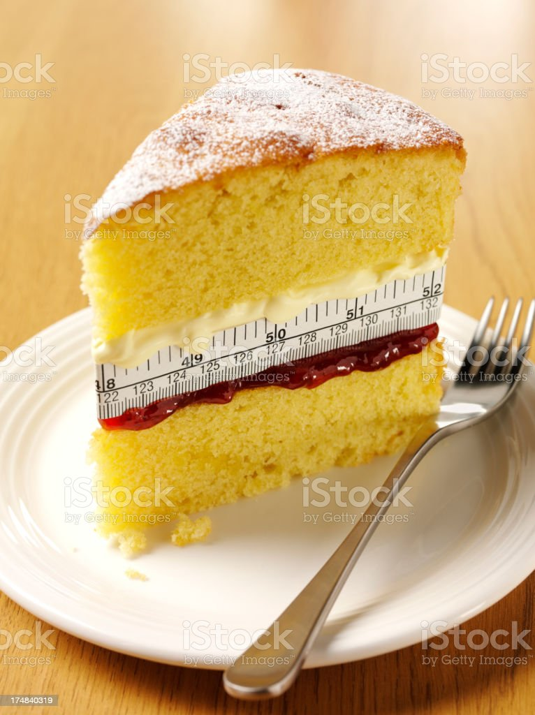 Unhealthy Sponge Cake with a Tape Measure stock photo