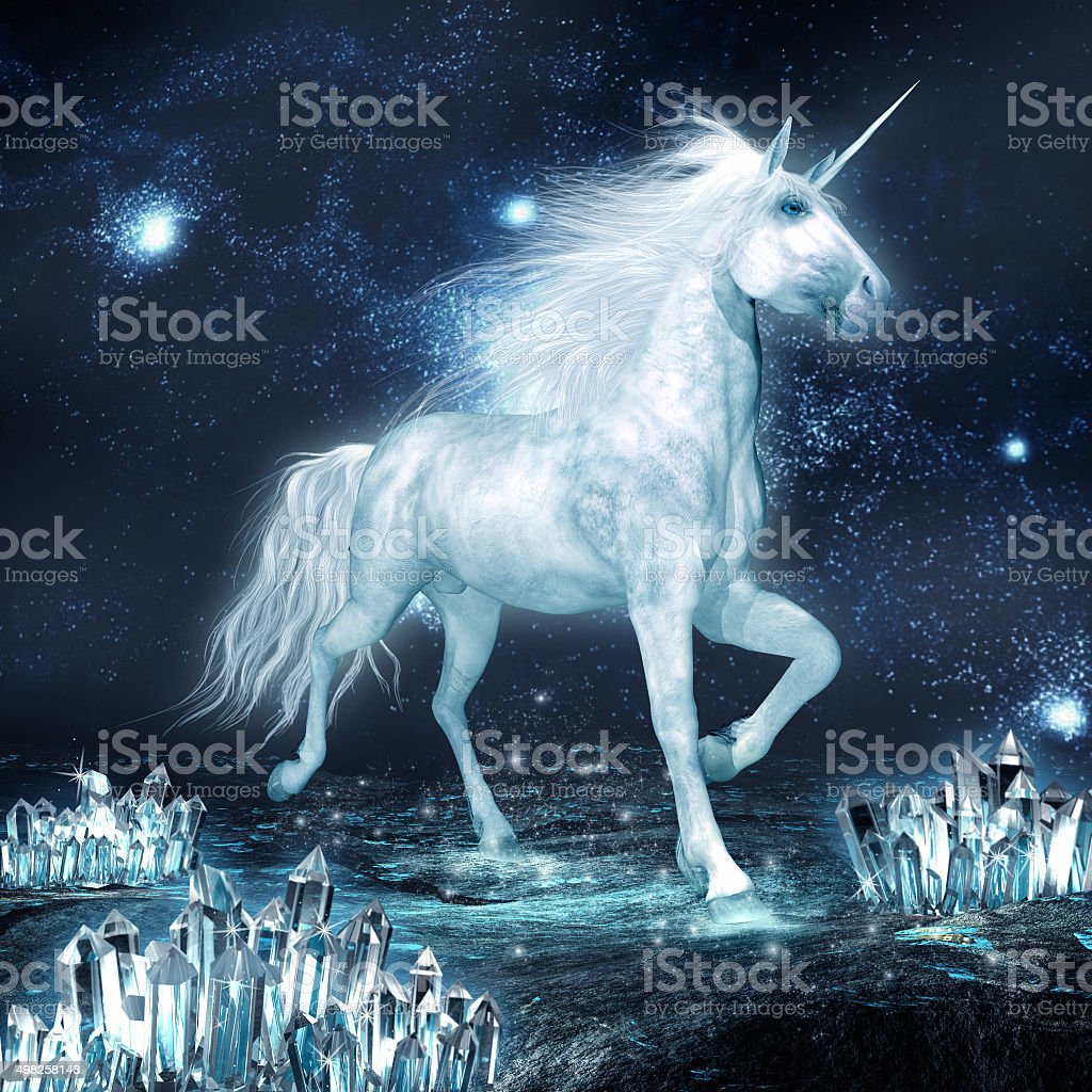 Unicorn and crystal field stock photo