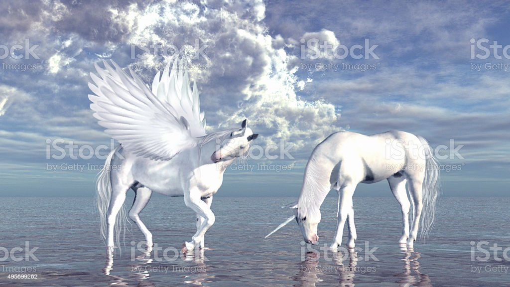 Unicorn and pegasus stock photo