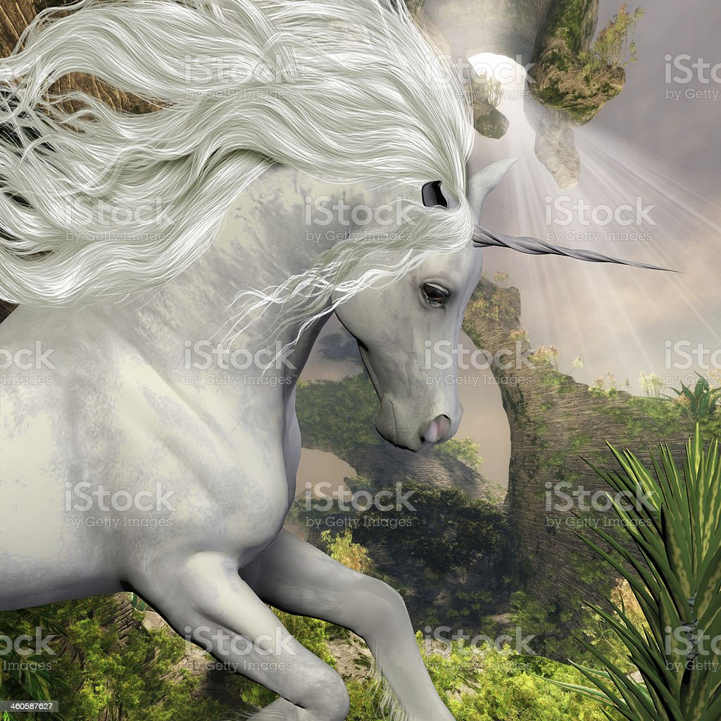 Unicorn and Yucca Plant stock photo