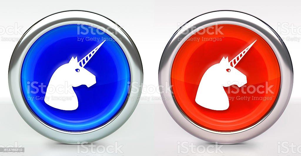 Unicorn Head Icon on Button with Metallic Rim stock photo