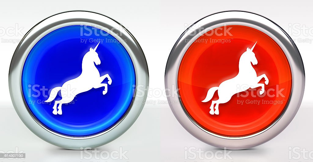 Unicorn Icon on Button with Metallic Rim stock photo