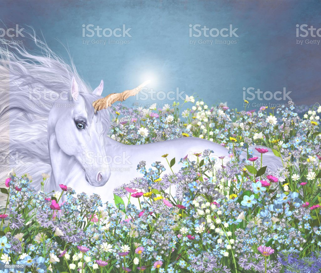 Unicorn in a Sea of Flowers stock photo