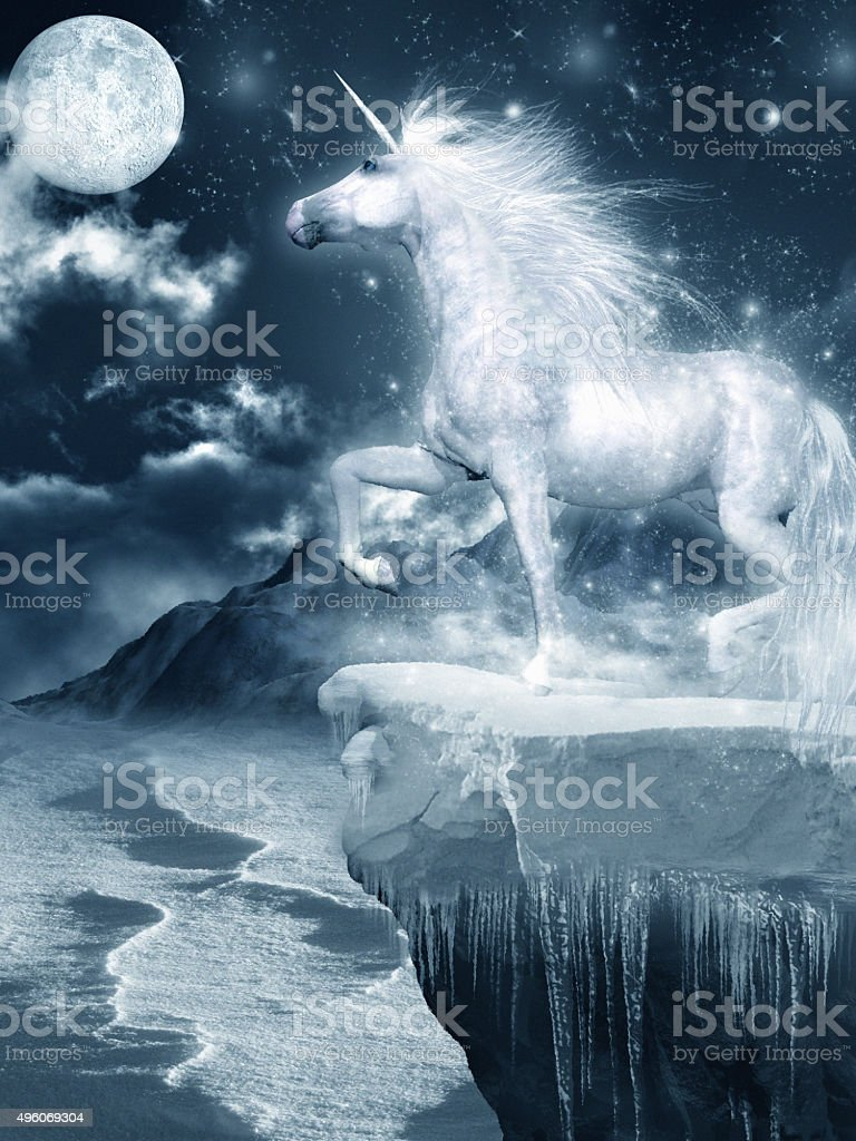 Unicorn standing on the cliff stock photo