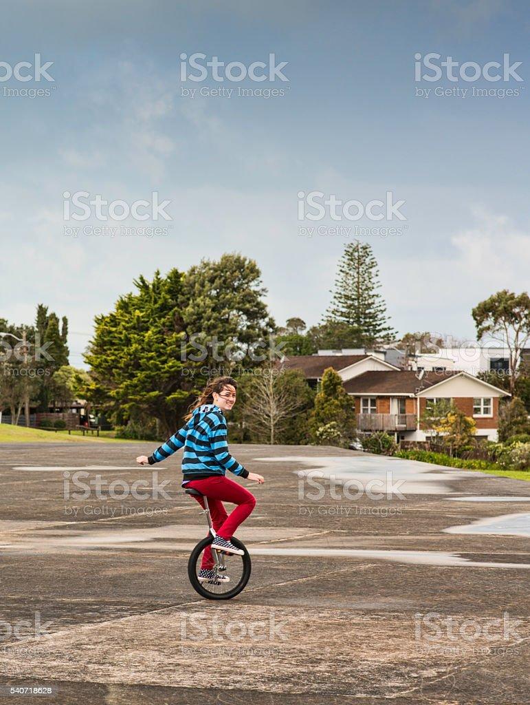 Unicycle expert stock photo