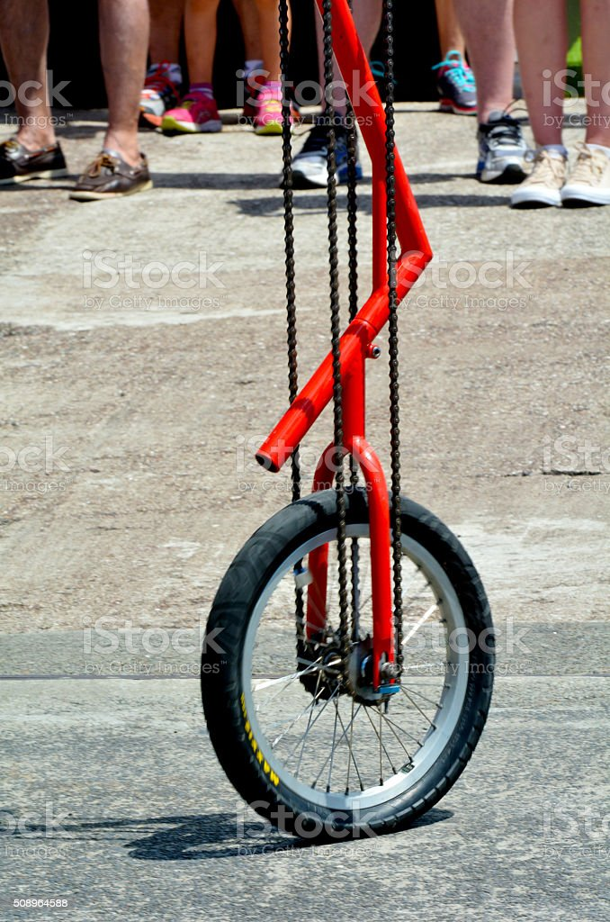Unicycle  street performance stock photo