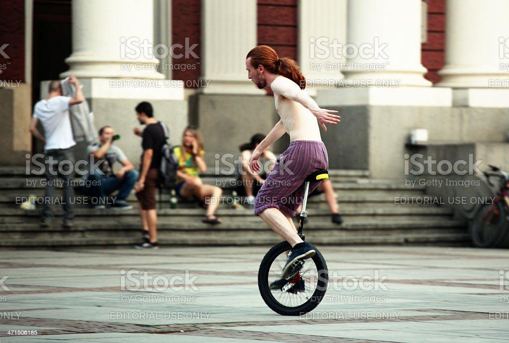 Unicyclist royalty-free stock photo